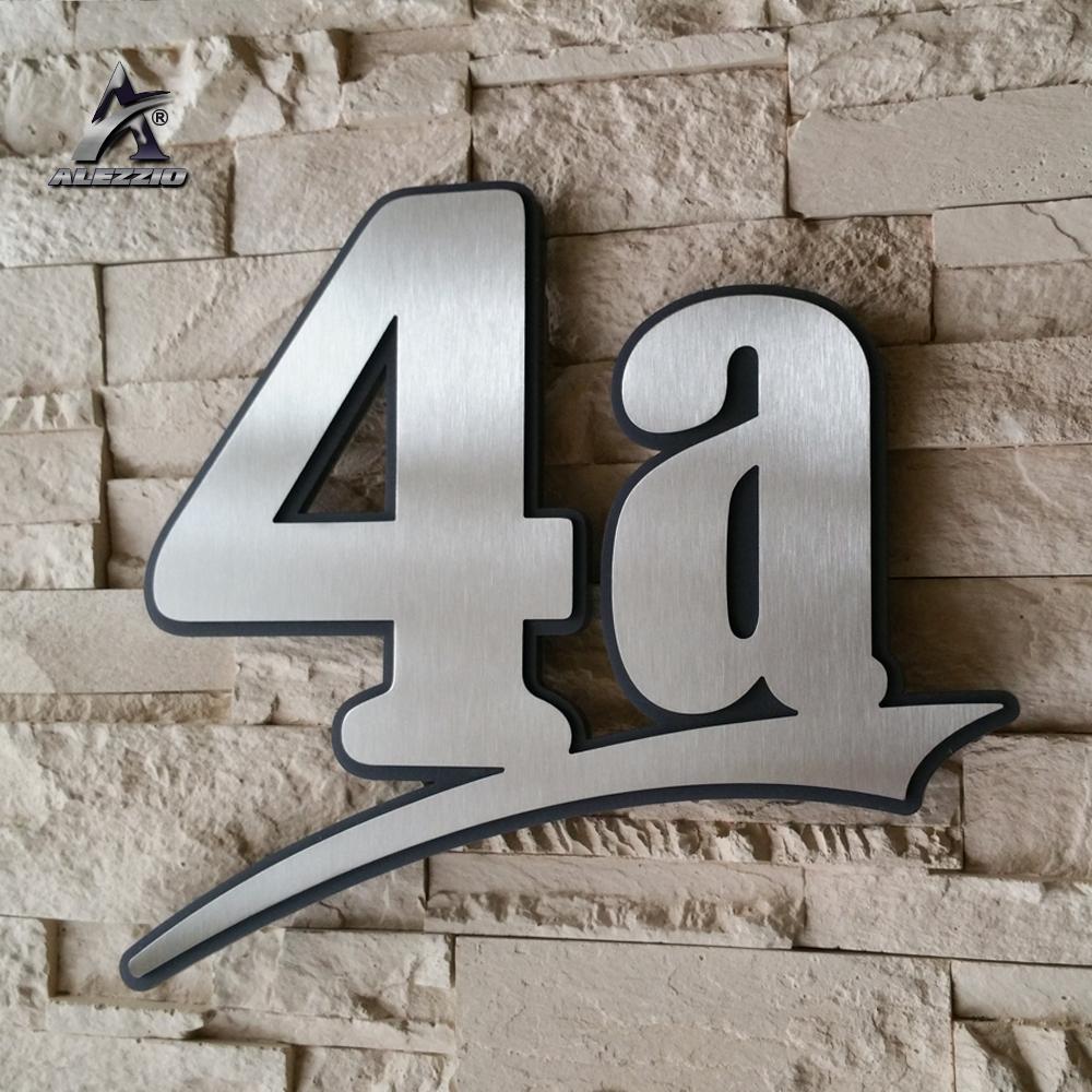 Interessant Edelstahl Hausnummer mit farbigen Acrylglas hinterlegt 7,5mm dick RE33